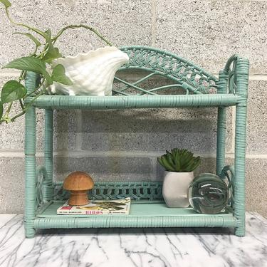 Vintage Wicker Rack Retro 1980s Bohemian + Mint + Two Tier + Woven Design + Open Shelving and Display + Home and Wall Decor + Plant Stand by RetrospectVintage215