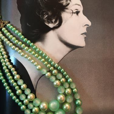 1950s beaded necklace, green pearl necklace, vintage 50s necklace, multi strand, 50s costume jewelry, mrs maisel style by BlackLabelVintageWA