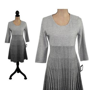 Scoop Neck Gray Knit Sweater Dress Women, 3/4 Sleeve A Line Midi, Petite Small Medium, 2000s Clothes Y2K Vintage Clothing from Ellen Tracy by MagpieandOtis