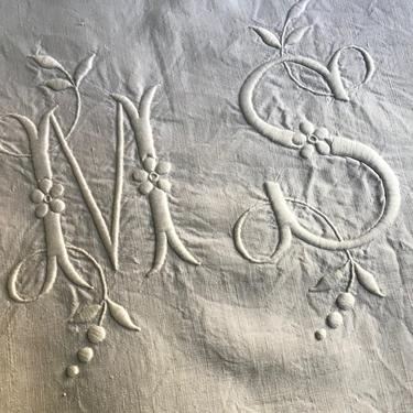 19th C Heirloom French Linen Sheet, Hand Embroidered Monogram, Queen Size by JansVintageStuff