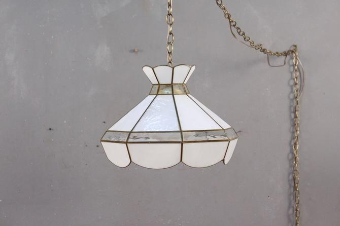 Pearl Stained Glass Swag Lamp