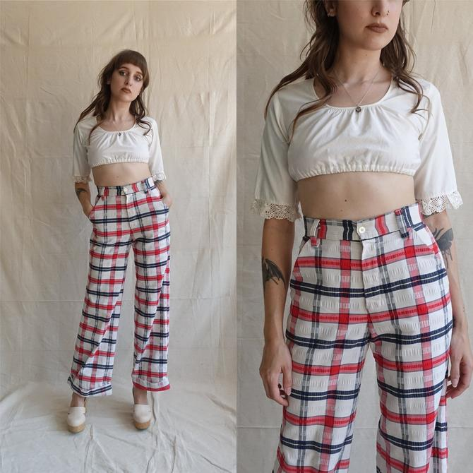 Vintage 70s Plaid Wide Leg Trousers/ 1970s High Waisted Red White Blue Cotton Bell Bottoms/ Size XS 26 by bottleofbread