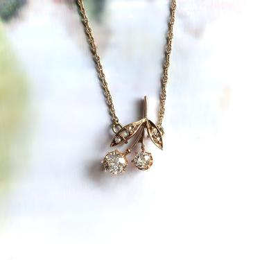 Antique Old European Cut Diamond Cherries 18k Pendant 14k Necklace Yellow Gold 16.5in Fixed Chain by YourJewelryFinder