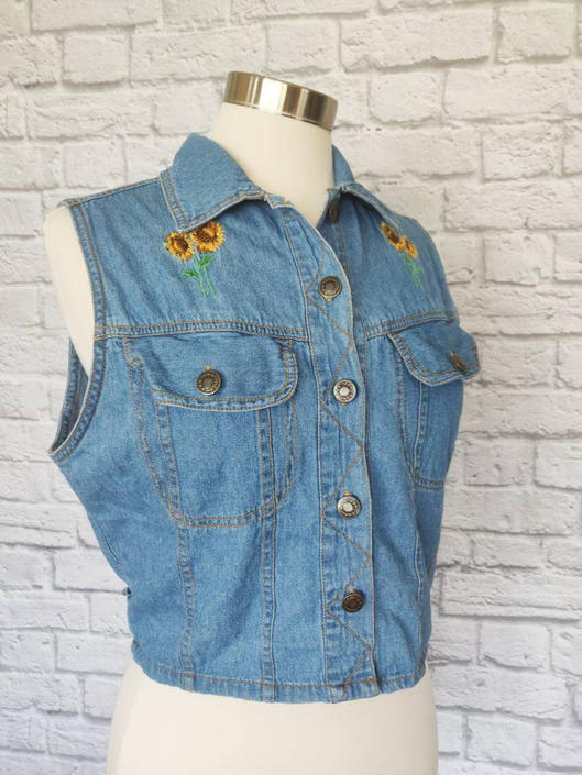 Vintage Denim Embroidered Vest // Sunflower Accents Size M by GemVintageMN