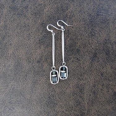 Teal earrings, hematite mid century modern earrings, Brutalist earrings, minimalist statement earrings, geometric unique, long bold by Afrocasian