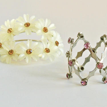 2 Pc 1950s Girls Jeweled Yellow Barrette & Pink Rhinestone Expandable Ponytail/ Bun Holder, Vtg Hair Ornaments, Mid-Century Hair Clips by eClectricityVintage