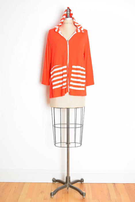 vintage 70s jacket top terry cloth re white striped hoodie shirt beach cover M L clothing by huncamuncavintage