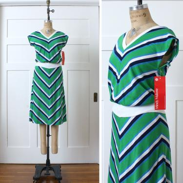 vintage 1970s chevron stripe dress set • cute NOS sleeveless top & skirt in green white and blue by LivingThreadsVintage