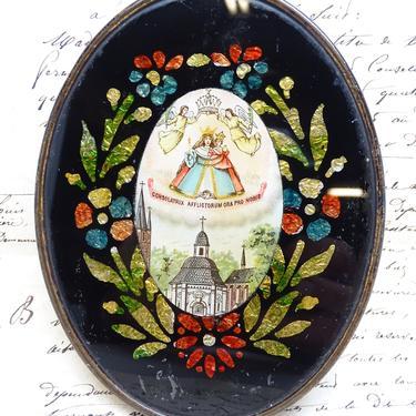 Antique Consolatrix Afflictorum Ora Pro Nobis Icon, Vintage Religious Nun's Work, Saint Mary with Christ Jesus, Reverse Painted by exploremag