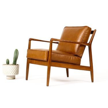Danish Modern / Mid Century Walnut Lounge Chair — Folke Ohlsson for Dux — Cognac leather by atomicthreshold