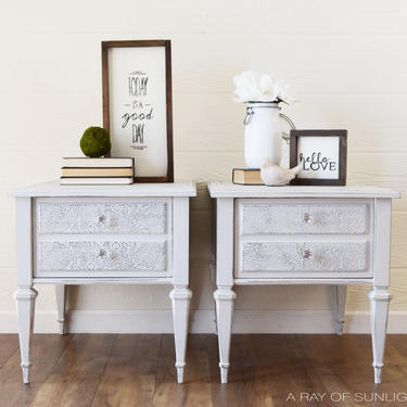 SOLD Light Grey Pair of End Tables, Lace Embossing, Single Drawer, Vintage Refinished Furniture, Raised Stencil, Wood Bed Table, Farmhouse by ARayofSunlight