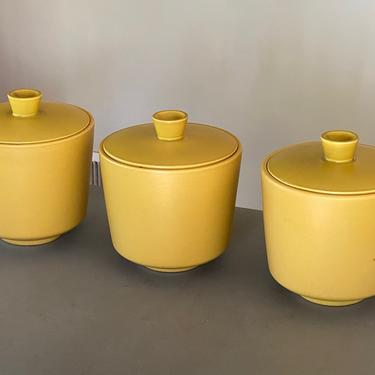 MCM Mustard Yellow Pottery Canisters by Walkingtan