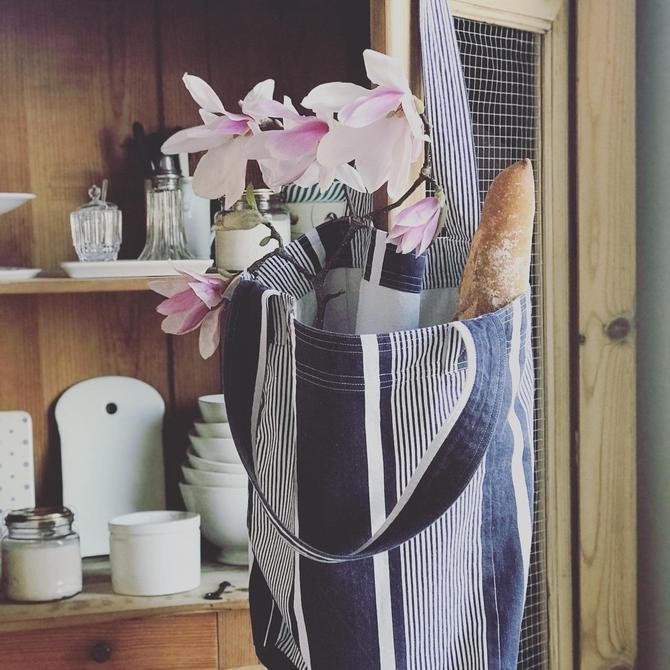 Vintage French indigo ticking market bag by Grainsacfrenchvintag
