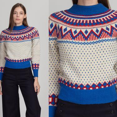 70s Danish Fair Isle Cropped Ski Sweater - Extra Small | Vintage Olympic Original Nordic Wool Knit Pullover Jumper by FlyingAppleVintage