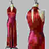 1930s Dress / 30s Liquid Satin Gown / CUTOUT BACK / Deep Red Satin Maxi Gown / Bias Cut / Ultra Flattering by GuermantesVintage