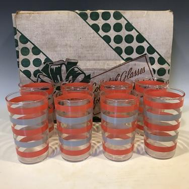 Set of 8 Anchor Hocking striped Tumbler Glasses, striped bands Mid Century Modern glassware, retro kitchen decor, mcm barware glasses by PeoplewillStare