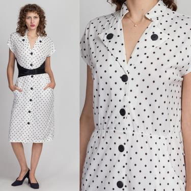 80s Black & White Polka Dot Midi Dress - Medium   Vintage Button Up Collared Short Sleeve Dress by FlyingAppleVintage