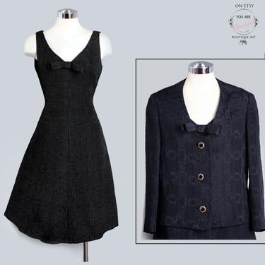 Black Designer Dress SET Matching JACKET Vintage 1960's Jackie O style SUIT, Fit & Flare, 1950's Little Black Dress, Cocktail Party by Boutique369