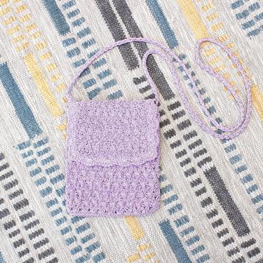 Vintage Early 2000s Y2K Crochet Crossbody Bag - Purple Lilac Mini Boho Purse by SecondShiftVintage