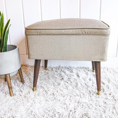 Neutral Tan Vintage Mid-Century Modern Leather Sewing Ottoman / Bench Seat by PortlandRevibe