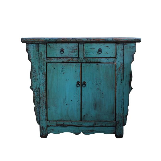 Distressed Pastel Teal Blue Lacquer Mid Size Credenza Table Cabinet cs5339S