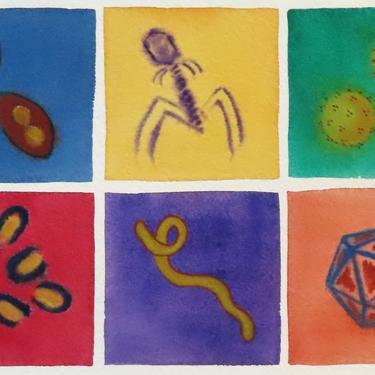Deep Viruses  - original watercolor painting - microbiology art by artologica