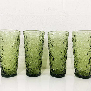 True Vintage Avocado Geen Anchor Hocking Lido Milano Crinkle Glass Iced Tea Glasses Set of Four Tumblers Textured Highball 1960s 1970s Nubby by CheckEngineVintage