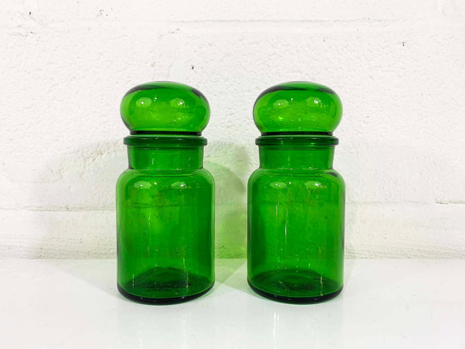 Vintage Green Glass Apothecary Jar Set of 2 Jars Pair Made in Belgium Stasher Covered Candy Dish Lidded Box Trinket Holder Vanity Storage by CheckEngineVintage