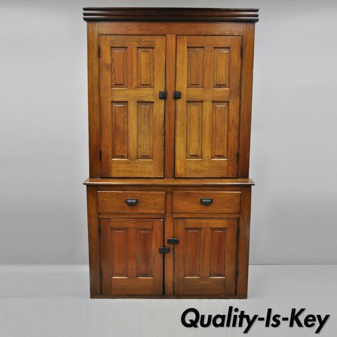 Large 19th Century Oak Wood Tall Blind Doors Cupboard Cabinet Step Back Hutch