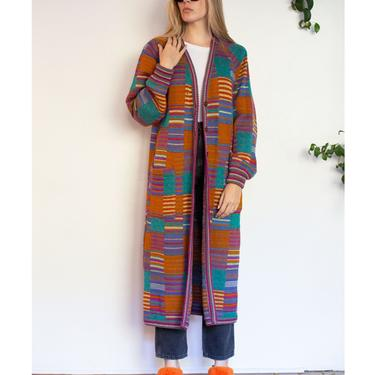 1970s Rare Vintage MISSONI Floor Length Patchwork Sweater Coat Multicolor Rainbow 70s XS S M Button Up Knit by backroomclothing