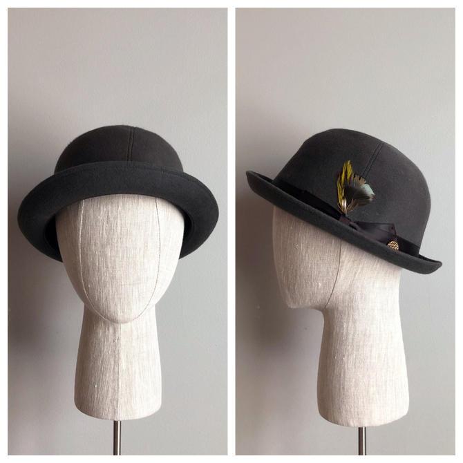 Vintage 50s Gray Wool Derby Bowler Hat- NEW OLD STOCK! by VintageChicVa