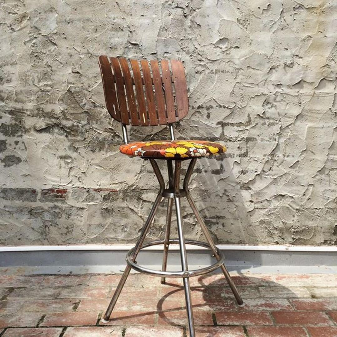 Retro Chrome Kitchen Bar Stool With Mod Floral Seat And Slat Wood Back Bentley 39 S Vintage From