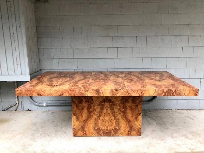 Midcentury Baughman Style Faux Burl Dining Table