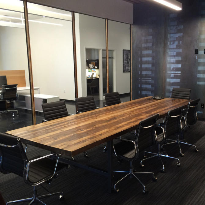 Wood Conference table in thick reclaimed wood and steel legs in your choice of color, size and finish by UrbanWoodGoods