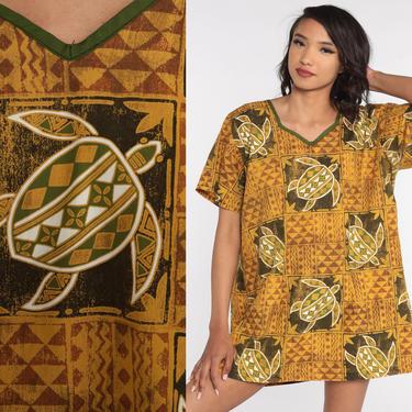 Turtle Tunic Top 90s Hippie Shirt Tropical Beach Shirt Boho Yellow Batik Top Short Sleeve Blouse Bohemian Shirt 2xl Extra Large xl xxl by ShopExile