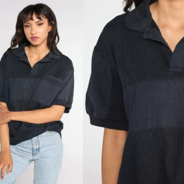Slouchy Black Shirt 80s Short Sleeve Sweatshirt Button Neck Top Polo Shirt Slouchy Top 1980s Vintage Pullover Oversized Large L by ShopExile