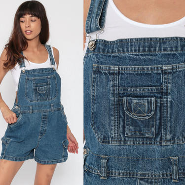 Short Overalls Denim Overall Shorts No Excuses Shortalls Jeans 90s Grunge Jean Blue Woman 1990s Vintage Medium by ShopExile