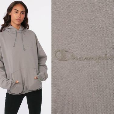 Champion Hoodie Sweatshirt 90s Hooded Gray Sweatshirt Hood Drawstring Slouchy Retro Grey Vintage Streetwear 1990s Sportswear Medium by ShopExile