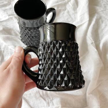 Vintage Pair of Black Diamond Cameo Tiara Coffee Mug | Black Glass Spike Coffee Mugs | Indiana Glass Company by BrassBluebonnets