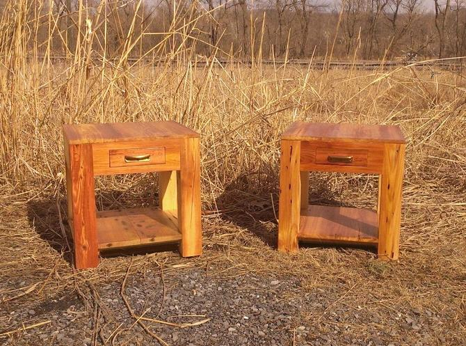 Heart Pine Parsons Style End Tables with Drawer, Shelf and Vintage Pulls by BarnWoodFurniture