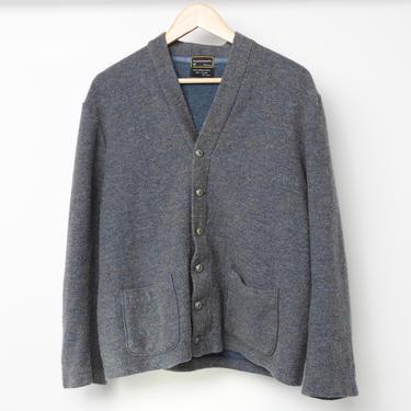mid century speckled blue CARDIGAN jacket sweater vintage 60s men's grunge kurt cobain cardigan sweater -- size medium WOOL sweater by CairoVintage
