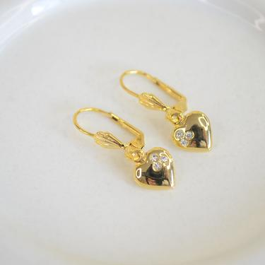 gold cz heart earring, gold heart earring, dainty cz heart earring, gold dangle heart, dainty gold cz earring, heart cz earring, gift by melangeblancdesigns