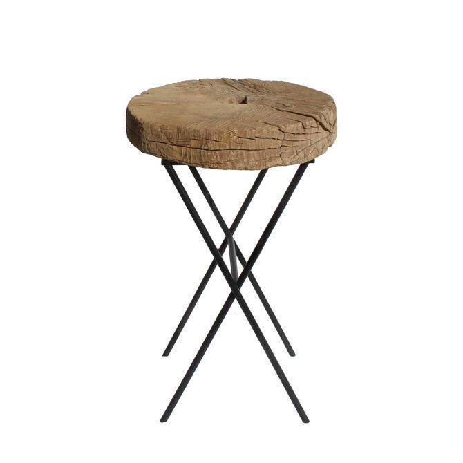 Rustic Raw Wood Round Thick Plank Table Cross Metal Leg Base cs5861E by GoldenLotusAntiques