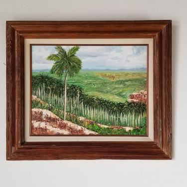 1980's Vintage Cuban Landscape Painting by Norma by MIAMIVINTAGEDECOR
