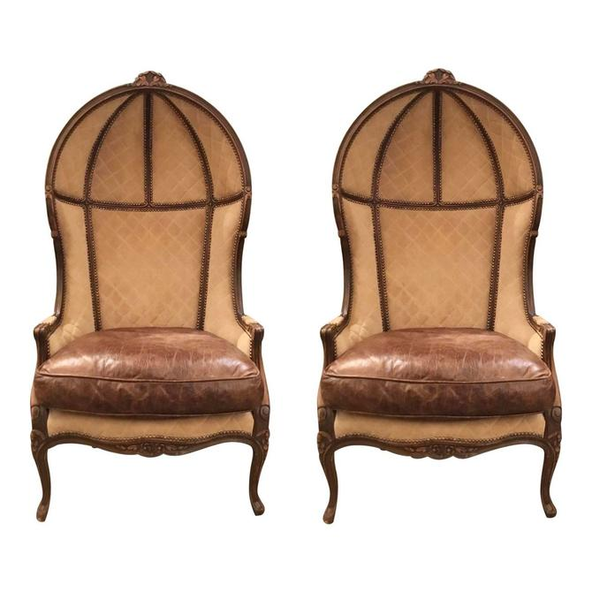 French Vintage Leather and Suede Ballon Chairs Pair