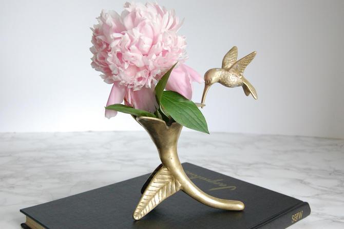 Brass Hummingbird Vase Vintage Brass Hummingbird Vintage Bud