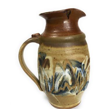 Vintage Brown Stoneware Drip Glaze Pottery Pitcher, signed Haskins by Northforkvintageshop