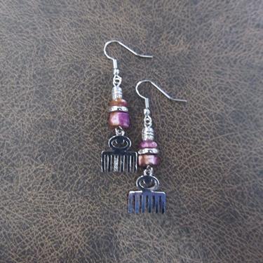 Afro pick earrings, adinkra symbol earrings, beauty earrings, bold statement earrings, Afrocentric earrings, comb earrings, silver earrings2 by Afrocasian