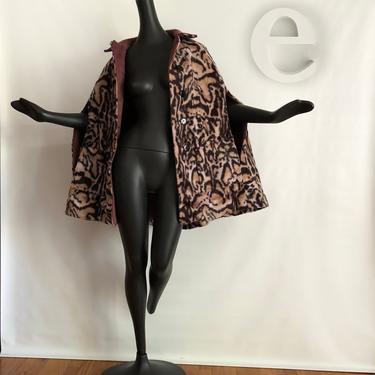 MOD Rockabilly Leopard Cape   Cheetah Animal Print Faux Fur   Vintage 60s 70s Hippie Boho Poncho Coat Jacket Alternative   Warm Winter Wool! by elliemayhems