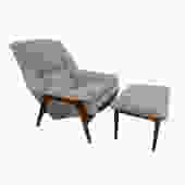 Folke Ohlsson Dux Lounge Chair and Ottoman Grey Tweed